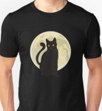 Spooky Halloween Black Cat Under the Moonlight Art Graphics Design T-Shirt