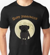 Spooky Halloween Happy Puggoween Black Pug Dog Under the Moonlight Art Graphics Design T-Shirt
