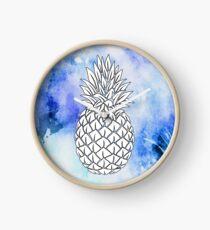 White & Blue Aquarell Ananas Uhr