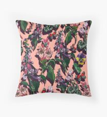 Peaches and red wine floral Throw Pillow