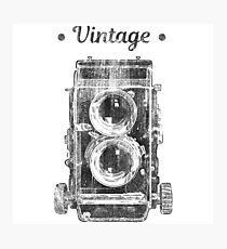 Retro 2 lens photo camera vintage design Photographic Print