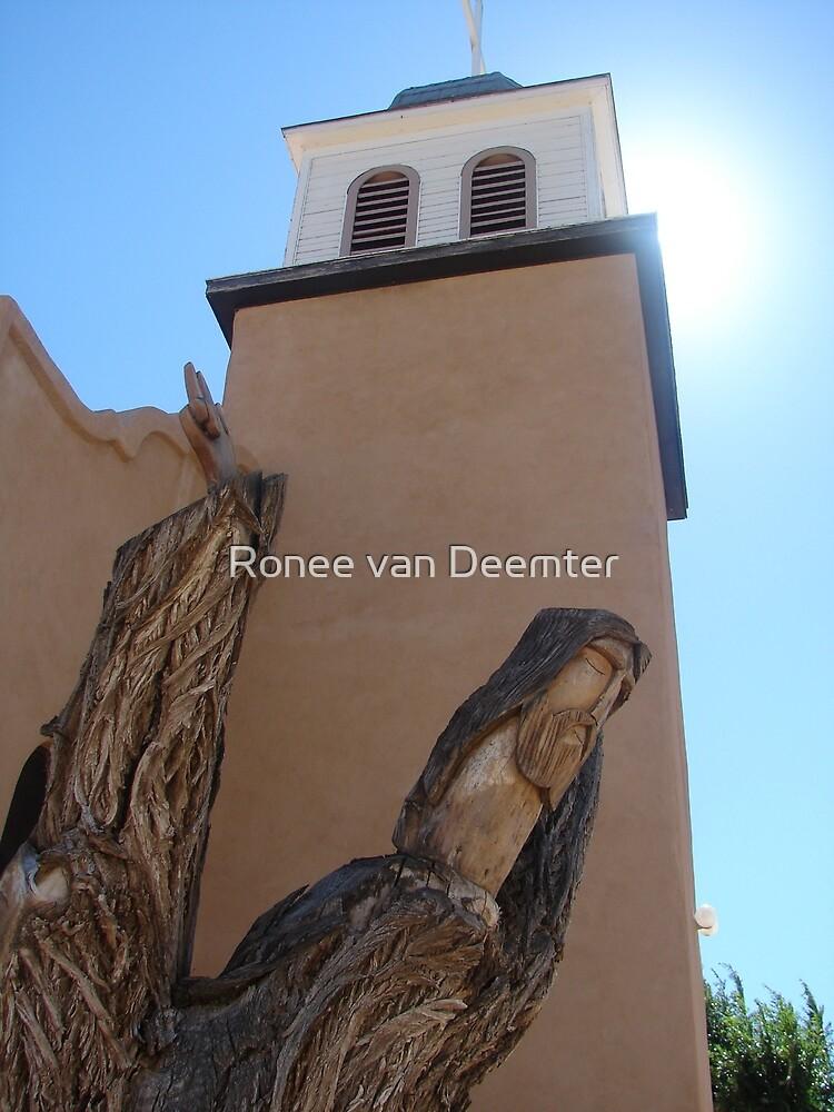A tree carving in Cerrillos, New Mexico by Ronee van Deemter