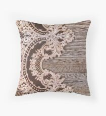 rustic Western Country Farmhouse Chic Barn Wood Lace Throw Pillow