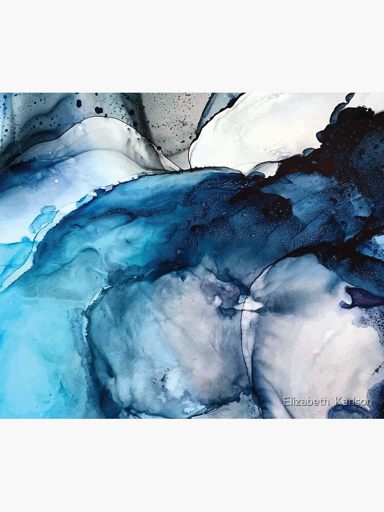 White Sand Blue Sea - alcohol ink painting by LSchulz19