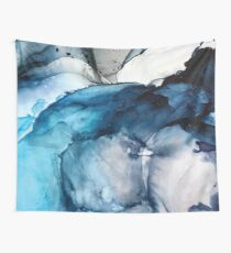 White Sand Blue Sea - alcohol ink painting Wall Tapestry