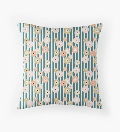 Delicate flowers on stripes Throw Pillow