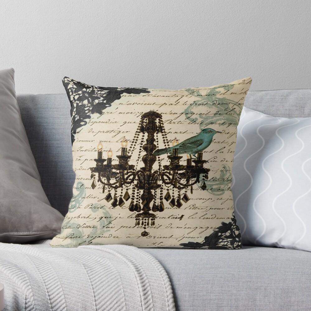 Vintage Vogel Spitze Französisch Skripte Kronleuchter Paris Dekokissen