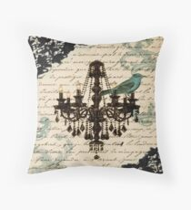 vintage bird lace french scripts chandelier paris Throw Pillow