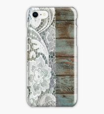 Western Country distressed blue Barn Wood white Lace iPhone Case/Skin