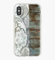 Western Country distressed blue Barn Wood white Lace iPhone Case