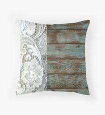 Western Country distressed blue Barn Wood white Lace Throw Pillow