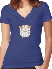 Cute Sheep Women's Fitted V-Neck T-Shirt