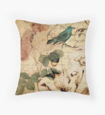 modern vintage rose bird paris french botanical art Throw Pillow