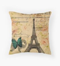 vintage butterfly paris eiffel tower fashion Throw Pillow