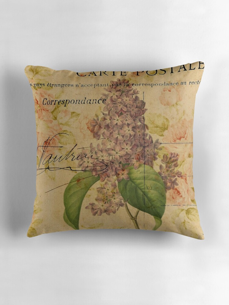 Lilac Floral Throw Pillow :