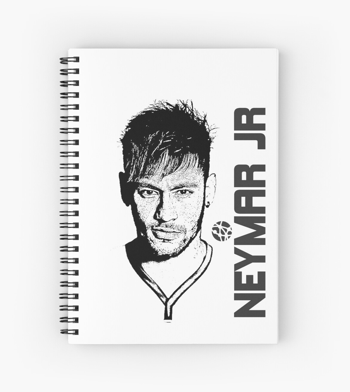 Neymar jr black white spiral notebook by xnnovate