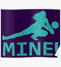 Fun Distressed Style Mine! Volleyball Player  Poster