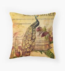 peacock orchid floral vintage botanical art Throw Pillow