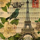 botanical roses bird modern vintage Paris eiffel tower  by lfang77