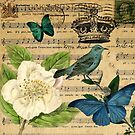 vintage Bird butterfly rose music notes Paris by lfang77