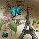 vintage paris eiffel tower butterfly lilac floral art  by lfang77