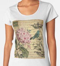 vintage paris hydrangea floral botanical art Women's Premium T-Shirt