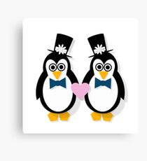 Penguin Groom and Groom Canvas Print
