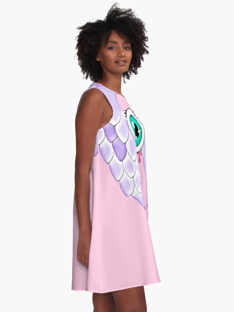 Alternate view of Pastel Goth | Winged Eye | Pink A-Line Dress