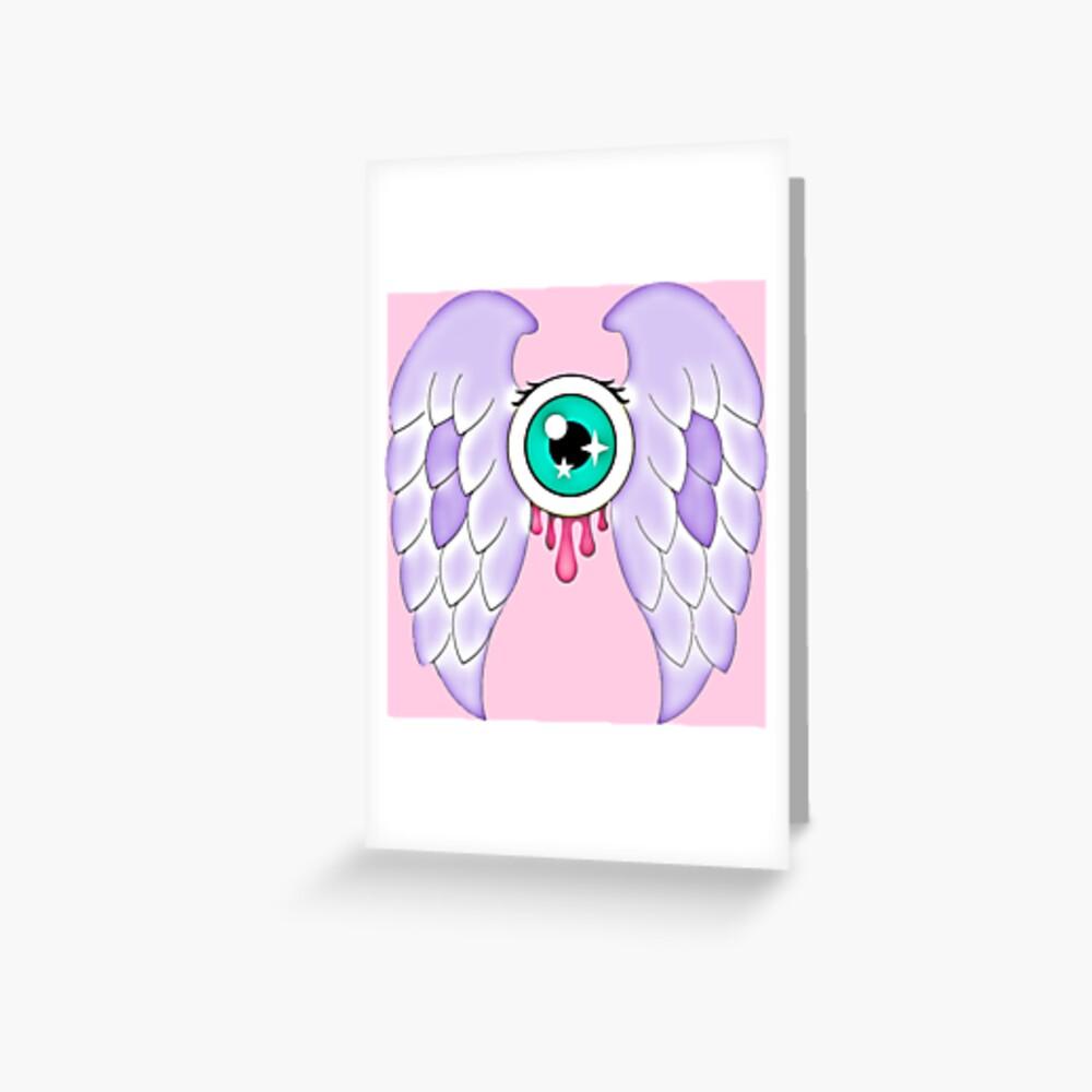 Pastel Goth   Winged Eye   Pink Greeting Card