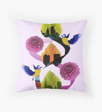 Leaves Floral City Birds Throw Pillow