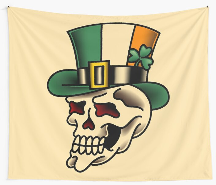 Traditional Irish Pride Skull Wall Tapestry By Salty Dog