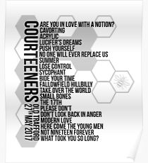 Courteeners // Old Trafford Setlist 27th May 2017 Poster