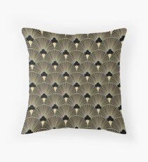 Art deco, fan pattern, vintage,1920 era, gold,black,elegant,chic,The Great Gatsby,modern,trendy,girly Throw Pillow