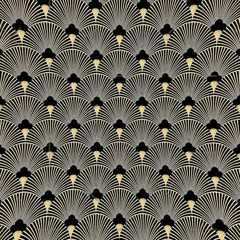 Art deco, fan pattern, vintage,1920 era, gold,black,elegant,chic,The ...