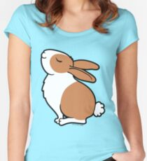Proud Dutch Rabbit ... Brown and White Women's Fitted Scoop T-Shirt