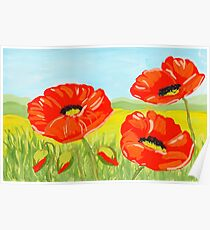 Red watercolor poppy flower on the field Poster