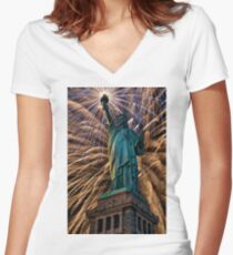 Liberty Fireworks Women's Fitted V-Neck T-Shirt