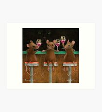 Will Bullas print / three wined mice  /animals / wine / mouse Art Print