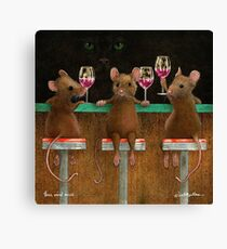 Will Bullas print / three wined mice  /animals / wine / mouse Canvas Print