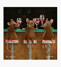 Will Bullas print / three wined mice  /animals / wine / mouse Photographic Print