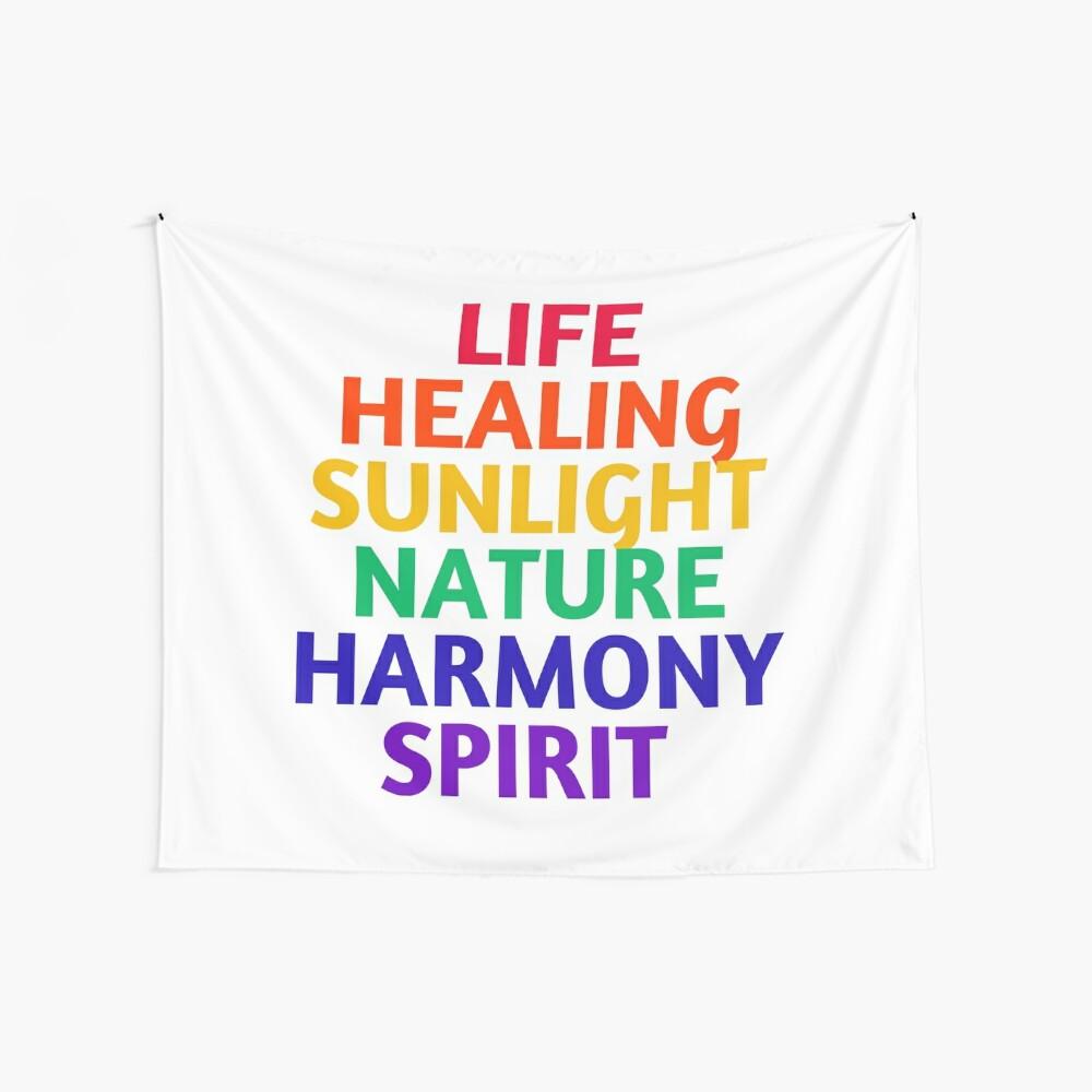 LIFE HEALING SUNLIGHT NATURE HARMONY SPIRIT - RAINBOW  Wall Tapestry