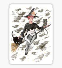 witch broomstick Sticker
