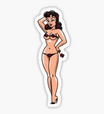 American Traditional Flower Girl Bikini Pin-up Sticker