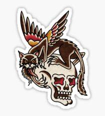 American Traditional Skull Chimera Sticker