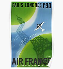 1936 Air France Paris to London Travel Poster Poster