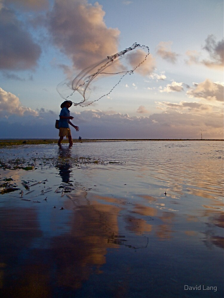 Balinese Fisherman Casting Net at Sanua Dawn 2 by David Lang