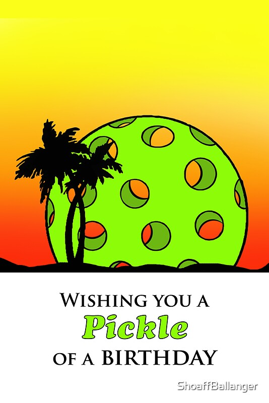 Wishing you a pickle of a birthday pickleball sunset by shoaffballanger