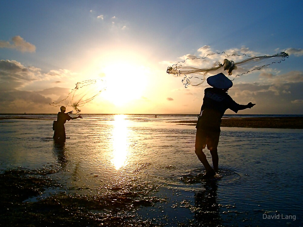 Balinese Fishermen Casting Nets at Sanua Dawn by David Lang