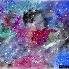 Watercolor Galaxy Space Painting by katdensetsu