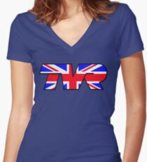 TVR Logo Union Jack Women's Fitted V-Neck T-Shirt